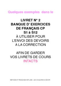 Livret N° 2 annexes français CP pour les devoirs S13 à S24
