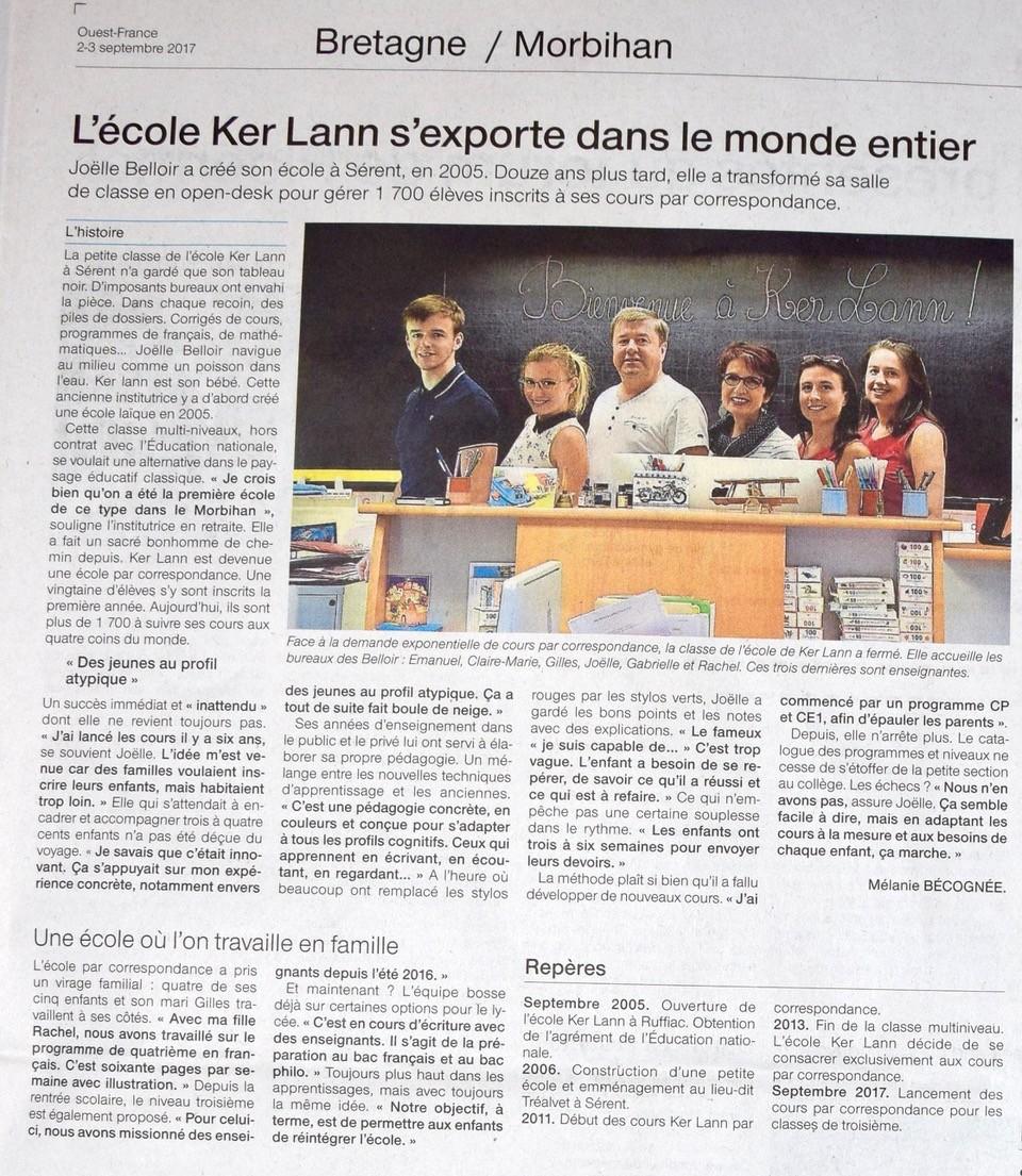 OUEST-FRANCE publie KER LANN